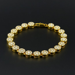MEN'S 1 ROW Cluster Chain ICED OUT YELLOW GOLD PLATED HIP HOP BLING CZ MEN CHAIN BRACELET JEWELRY