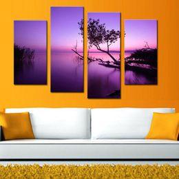 Скидка фотографии панели 4 Комбинация Picture Фиолетовый озеро Печать холст панели Пейзаж картины на холсте стены искусства готовы повесить на стены дома