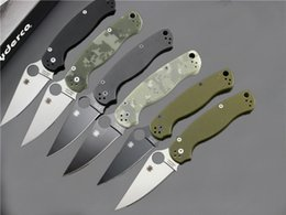 Wholesale Top Quality Colors Spyderco C81 Paramilitary Knives G10 Handle CPM S30V Blade Folding Tactical Knife Outdoor Tool knives Thumb Hole