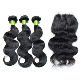 Wholesale Silk Top Closure Free Shipping - Cheap Brazilian Hair With Closure Body Wave Human Hair 3 Bundles With Top Closure 4x4 Unprocessed Silk Base Closure With Hair Free Shipping