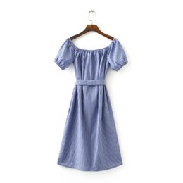 2016 new summer dresses with big European and American comprehensive vertical stripes strapless dress collar