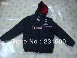 Wholesale Two uses AC Milan Hooded Men s cotton padded clothes AC Milan soccer winter jackets coat Thai Quailty