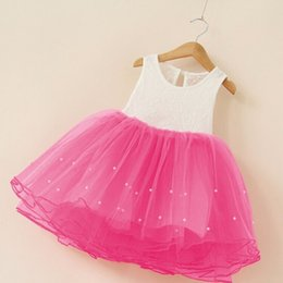 Girls Dress Patchwork Princess Baby 4 Color Dresses Pearl Mesh Birthday Party Costume For Girl Kids Clothes