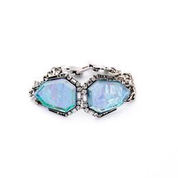 Wholesale 2016 Avery Bracelet Symmetric Geometry Drawing Stone Bracelets Pave Crystal Charms Vintage Silver Plated for Lady