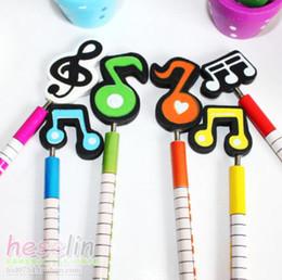 Gros-6 Pcs / pack Hot-vente Cartoon Music Notes Handmade Wooden 2B Pencil Musique Pencil meilleur cadeau de Noël pour les enfants à partir de note crayon fabricateur