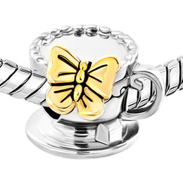 Butterfly on coffee cup in Gold and rhodium Plating Bead European Charm Fit For Pandora Bracelet
