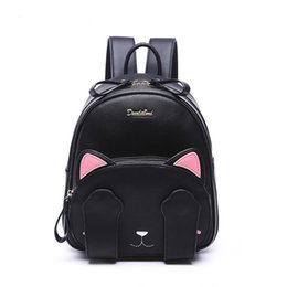 Wholesale Cute Lovely Bags - 2016 Cute Brand fashion leather backpack lovely cat pattern black shoulder bag satchels for women girl lady