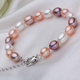 Wholesale Single Row of Colored Rice-shaped Pearl Bracelet Love Buckle Lengthening Chain 7-8mm Glare Flawless High Quality