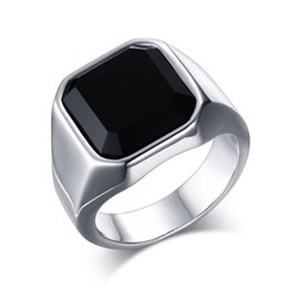 Wholesale Stainless Steel High Polished Black Agate Mens Ring Fashion Jewelry Rings Accessories Silver Size