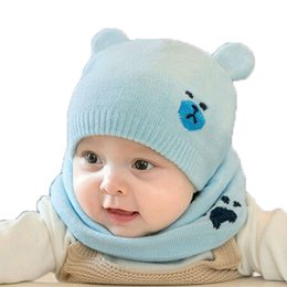 2017 Unisex Knit double Ear Beanies Hats and Ring Scarf Set Child Baby Bear Jacquard Solid Color Winter Warm Cap 2 Pieces Suit MZ5063