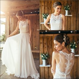 Wholesale 2016 New Elegant Bohemian Chiffon Summer Beach Wedding Dresses Sl Lace Top Beaded Sash Floor Length A Line Bridal Gowns With Covered Buttons