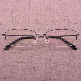 Small box new pure titanium fashion square super light male half box business casual fan frames with myopia picture frame
