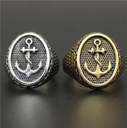 Size 8-14 Hot Sellers Fashion Jewelry Cool Gold Silver Anchor Ring 316L Stainless Steel Hot Polishing Anchor Biker Ring