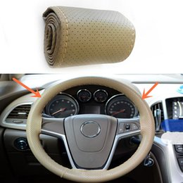 10pcs Car Truck Leather Steering Wheel Cover With Needles and beige Thread DIY