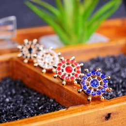 Mini brooch Korea collar accessories M Rudder small collar pin brooch simple rhinestone buckle collar suit