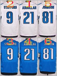 Wholesale NIK Elite Football Stitched Lions Stafford Abdullah Johnson White Blue Elite Jerseys Mix Order