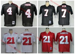 Wholesale 100 Stitiched Atlanta jerseys Falcons Michael Vick Deion Sanders brett favre Throwback for men jerseys real photo