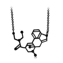 Wholesale LSD aka acid Chemical Molecule Structure Pendant Necklace BFF Gift For Men Women Black Gold Silver