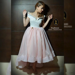High low a line pearl evening dress off the shoulder with short sleeve organza zipper back free shipping prom gowns