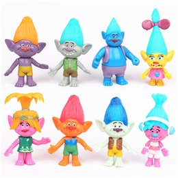 Wholesale 8pcs cm Trolls Movie Poppy Branch Statue PVC Action Figures Collectibles Dolls Anime Figurines Kids Toys for Boys Girls