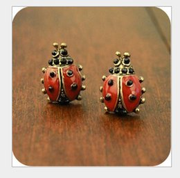 Wholesale Fashion Jewelry Vintage Retro Betsey Johnson Little Red Ladybird Ladybug Beetles Stud Earrings B206 Valentine s Day Gift cheap