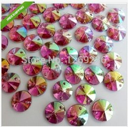 Pink AB colour Round10mm Rivoli Sew On Acrylic Crystal flatback Rhineston 400pcs lot m129