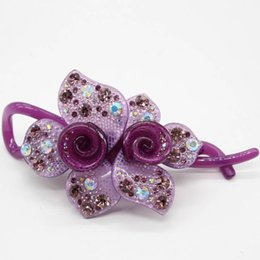 Wholesale 2016 New Top quality Acrylic Rhinestone banana clip Elegant camellia accessories pin for hair