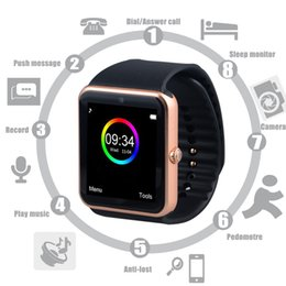 Wholesale Smart Phone Remote Support - Smart Watch GT08 Clock Sync Notifier Support Sim Card Bluetooth Connectivity Apple iphone Android Phone Smartwatch Watch full  half scren