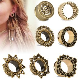 Wholesale 224piece mix style sizes Antique Brass Rose of Sharon Flesh Tunnel Double Flared Ear Plugs Piercing Gauges mm mm Fashion Body Jewelry
