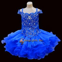 2016 New Spring Mini Cupcake Dresses Off-the-shoulder Refinement Beading Girl's Pageant Dresses Birthday Wedding Kids Flower Dresses