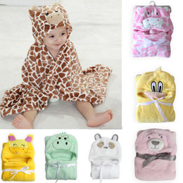 Wholesale New coming coral fleece D animal style cute baby blankets hooded newborn receiving blankets Infants swaddle wrap baby parisarc
