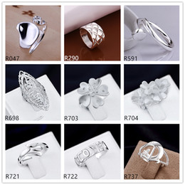 Plated sterling silver ring 10 pieces a lot mixed style EMR7,brand new burst models fashion 925 silver plate ring