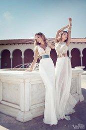 Wholesale Julie Vino Illusion V Neck Cap Sleeve Chiffon Beaded Summer Beach Garden Sheath Wedding Dresses with Belt Three Styles can choose