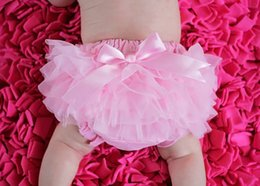 Wholesale Colorful Baby Ruffles Chiffon Bloomer Infant Girls Cotton Skirt Shorts Kids Layers Skirt Diaper Cover Underwear PP Short free ship