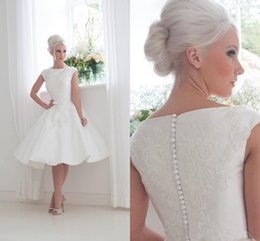 Wholesale Fabulous s Inspired Short Wedding Dresses House of Mooshki Bateau Neckline Capped Sleeves Appliqued Satin Bridal Gowns