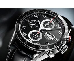 Wholesale 2017 NEW TAG WATCH real picture Chronogaph men watch Black leather Quartz wrist watch watch