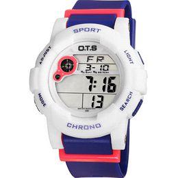 Wholesale OTS Waterproof Children Boys Girls Kids Digital Multifunction LED Quartz Alarm Date Sports Wrist Watch Alipower