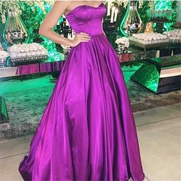 Cheap Long Evening Dresses 2016 Free Shipping Arabic Evening Gowns Purple Satin Long Formal Party Gowns