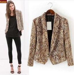 New Fashion Ladies' vintage snake skin print coat cotton padded zipper long sleeve jacket outwear casual slim brand tops