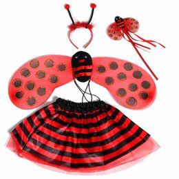 Pequeñas faldas de los niños en Línea-La venta al por mayor del juego del traje de la mariquita de los cabritos fijó el envío libre de la gota, EH129