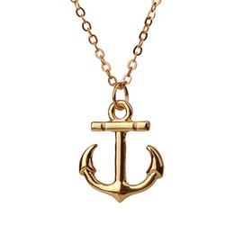 Wholesale Dogeared With Card take me to the ocean Anchor Gold Silver Plated Pendant Necklace Clavicle Chains Statement Necklace Women