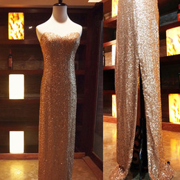 Mermaid Sweetheart Sequin Prom Evening Dress 2016 Split Long Evening Gowns Elegant Party Gowns Gold Color