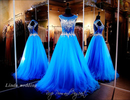 Royal Blue Open Back Prom Dress Sparkly Bling Crystal Beaded Floor Length Long Formal Party Gown