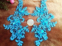 Handmade sequins Rhinestones patches sew on Light Blue colour lace applique Delicate embroidered 23*10cm for dress