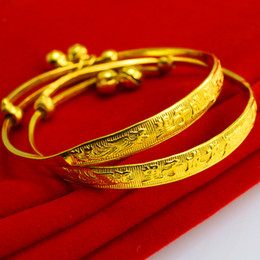 For a long time does not fade gold bracelets baby gold bracelet imitation 999 gold bell baby child