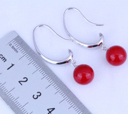 Wholesale Fashion Jewelry Lovely Red Coral Drop Earrings for Womens Free Gift Bag J0494 earrings cost