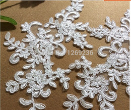 2016 New Hot!4pcs bag Ivory white lace appliques Delicate embroidered 25*12cm for top dres