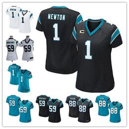 Wholesale Women s Carolina football jerseys Panthers Luke Kuechly Cam Newton Greg Olsen Black White Blue cheap Stitched shirt