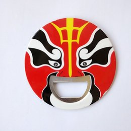 Best Selling Beijing Opera Facial Masks Print Round Bottle Opener With Manget -Red