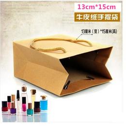 15cm*21cm+7cm Kraft paper packaging bag hand length handle bag standing up bag shopping bag Kraft+PE wholesales 100pcs